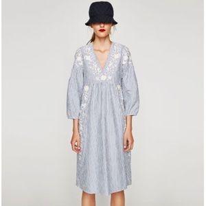 NWT Zara Embroidered Stripe Midi Dress SZ S